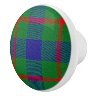 Scottish Grandeur Clan Agnew Tartan Plaid Ceramic Knob