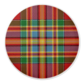 Scottish Grandeur Clan Chattan Tartan Plaid Ceramic Knob