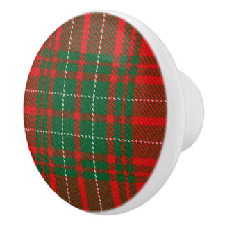 Scottish Grandeur Clan Cumming Red Tartan Plaid Ceramic Knob