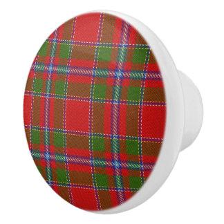 Scottish Grandeur Clan Drummond Tartan Plaid Ceramic Knob