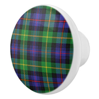 Scottish Grandeur Clan Farquharson Tartan Plaid Ceramic Knob