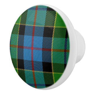 Scottish Grandeur Clan Forsyth Tartan Plaid Ceramic Knob