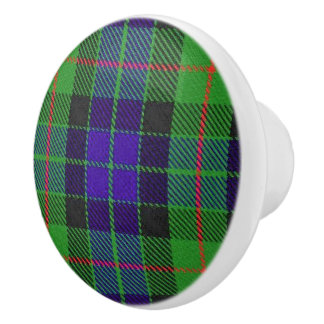 Scottish Grandeur Clan Gunn Tartan Plaid Ceramic Knob