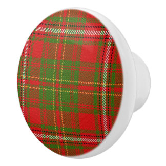 Scottish Grandeur Clan Hay Tartan Plaid Ceramic Knob