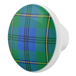 Scottish Grandeur Clan Johnstone Johnston Tartan Ceramic Knob