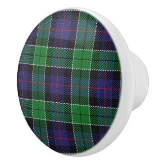 Scottish Grandeur Clan Leslie Hunting Tartan Ceramic Knob