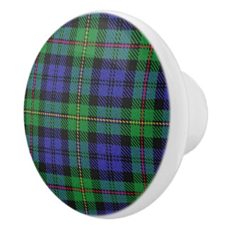 Scottish Grandeur Clan MacEwen Tartan Plaid Ceramic Knob