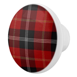 Scottish Grandeur Clan Marjoribanks Tartan Plaid Ceramic Knob