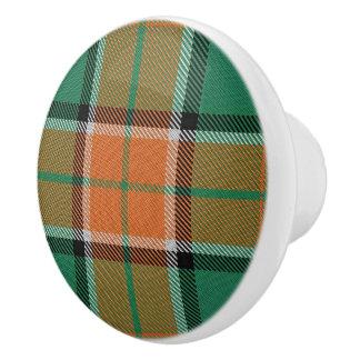 Scottish Grandeur Clan Pollock Tartan Plaid Ceramic Knob