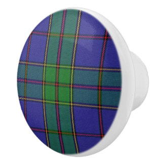 Scottish Grandeur Clan Strachan Tartan Plaid Ceramic Knob