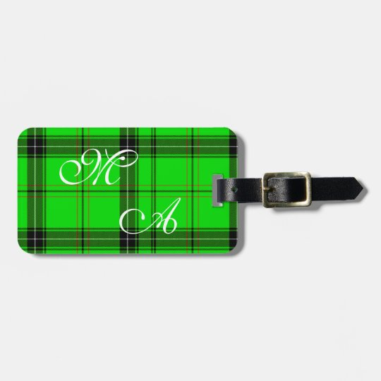 Scottish Green Tartan Plaid Fabric With Monogram Bag Tag