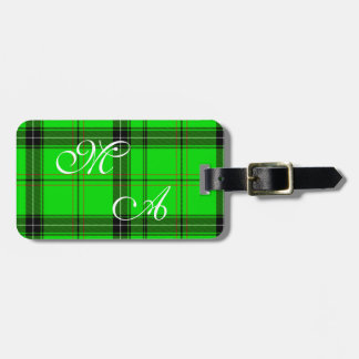 Scottish Green Tartan Plaid Fabric With Monogram Luggage Tag