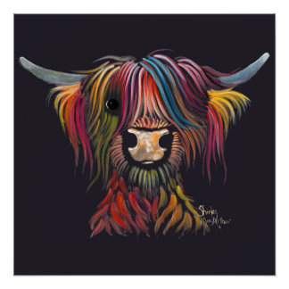 Scottish Hairy Highland Cow ' OLIVER ' Poster