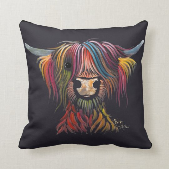 Scottish Hairy Highland Cow ' OLIVER ' Throw Pillow
