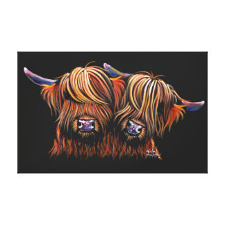 Scottish Hairy Highland  Cows ' PALS ' by Shirley Canvas Print