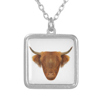 Scottish Highland Cattle Scotland Animal Cow Silver Plated Necklace