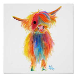 Scottish Highland Cow ' ANGEL ' by Shirley MacArth Poster