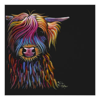 Scottish Highland Cow ' FLoWER PoT ' by Shirley M Poster