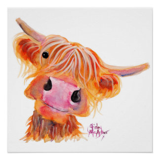 Scottish Highland Cow 'Nessie' Poster Print