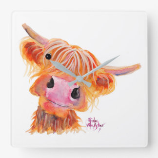 Scottish Highland Cow 'Nessie' Square Clock