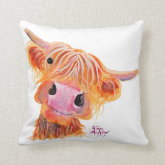 Scottish Highland Cow 'Nessie' Throw Cushion