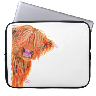 Scottish Highland Cow 'PEEKABOO' Laptop Sleeve