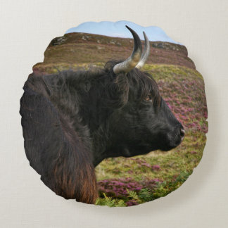 Scottish Highland Cow - Scotland Round Pillow