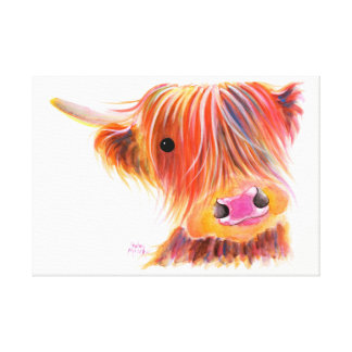 Scottish Highland Cow ' SWEET SATSUMA ' by Shirley Canvas Print