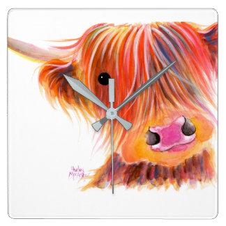 Scottish Highland Cow ' SWEET SATSUMA ' by Shirley Square Wall Clock