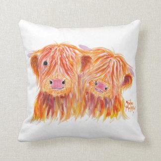 Scottish Highland Cows 'Buddies' on Throw Cushion