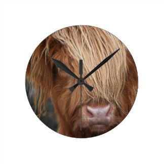 Scottish Highland Cows - Scotland Round Clock