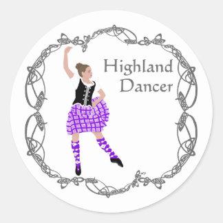 Scottish Highland Dancer Celtic Knotwork Purple Round Sticker