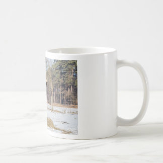 Scottish highlander bull eating hay in winter snow coffee mug