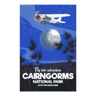 Scottish Highlands Cairngorms flight poster Stationery
