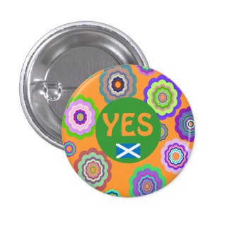 Scottish Independence Flower Power Saltire Badge 1 Inch Round Button
