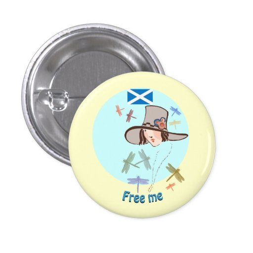 Scottish Independence Free Me Flag and Dragonflies Button