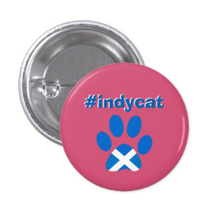Scottish Independence Saltire Flag Cat Paw Badge 1 Inch Round Button