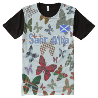Scottish Independence Saor Alba Tartan Butterfly T All-Over-Print T-Shirt
