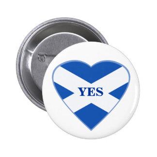 Scottish Independence Scotland Flag Heart Badge 2 Inch Round Button