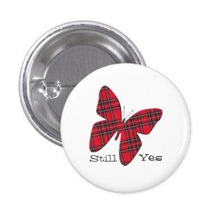 Scottish Independence Tartan Butterfly Badge 1 Inch Round Button