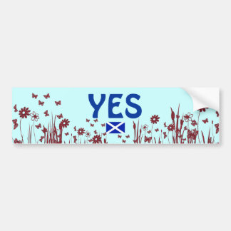Scottish Independence Tartan Flower Bumper Sticker