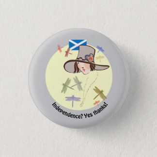 Scottish Independence Yes Thanks Dragonfly Girl 1 Inch Round Button