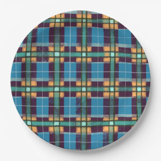 Scottish Inspired Blue and Yellow Original Tartan Paper Plate