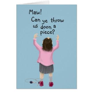 Scottish 'jeely piece' kid card