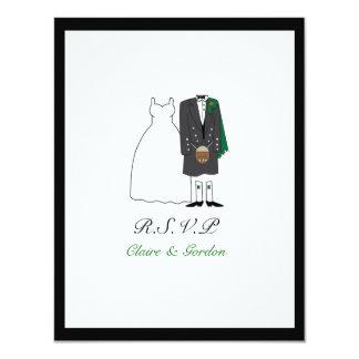 Scottish Kilt Bride & Groom Wedding RSVP -green Card