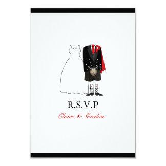 Scottish Kilt Bride & Groom Wedding RSVP - red Card
