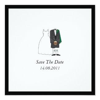 "Scottish Kilt Bride & Groom Wedding Save the Date 5.25"" Square Invitation Card"