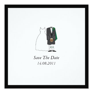Scottish Kilt Bride & Groom Wedding Save the Date 13 Cm X 13 Cm Square Invitation Card
