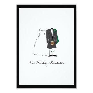 Scottish Kilt Wedding Invitation - Green