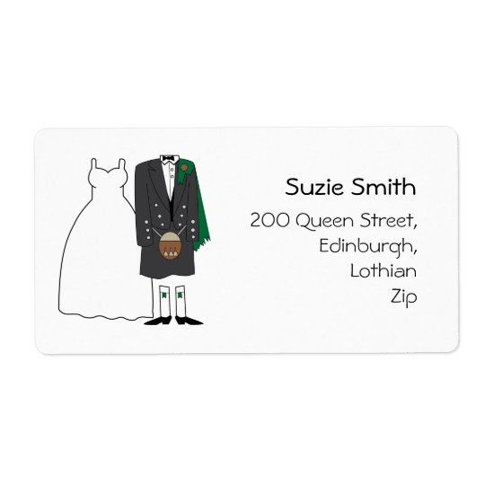 Scottish Kilt Wedding Return Address Labels